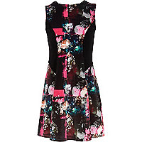 Girls black floral print fit and flare dress