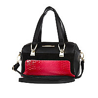 Girls black and pink bowler bag