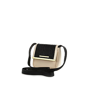 Girls black and cream cross body bag