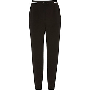 Girls black sporty jogger trousers