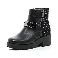 Girls black diamante biker boot