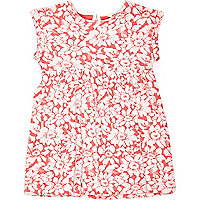 Mini girls coral flower jacquard dress