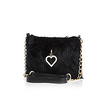 Girls black faux fur heart charm bag