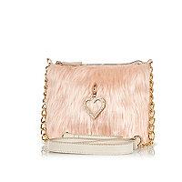 Girls pink faux fur heart charm bag