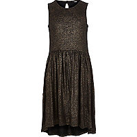 Girls gold liquid metallic dress
