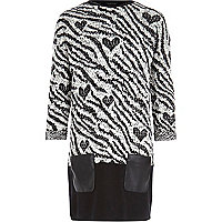 Girls black zebra knit dress