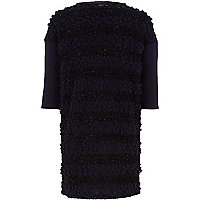 Girls navy knit look shift dress