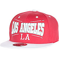 Girls pink and white LA snapback trucker hat