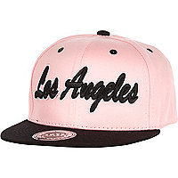 Girls pink and black LA snapback hat
