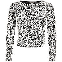 Girls black rose jacquard top
