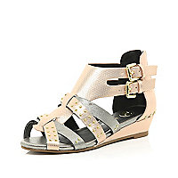 Girls rose gold strappy mini wedges