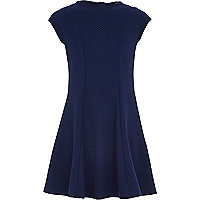 Girls navy textured fit and flare dress