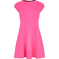 Girls pink textured fit and flare dress