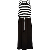 Girls black stripe top maxi dress