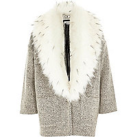 Girls black tweed faux fur collar coat