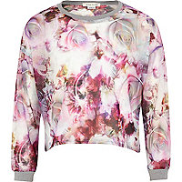 Girls pink digital rose print sweatshirt