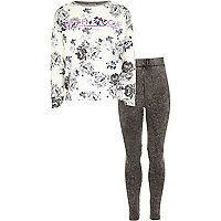 Girls grey floral sweat and leggings set