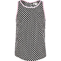 Girls black heart print vest