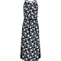Girls black floral maxi dress