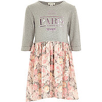 Girls grey knit look floral dress