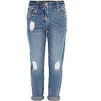 Girls medium wash embellished boyfriend jeans
