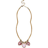 Girls gold tone heart charm necklace