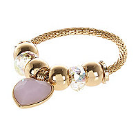 Girls gold tone heart charm bracelet