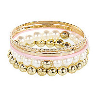 Girls pink pearl bracelet pack