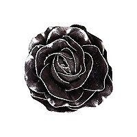 Girls black metallic flower hair clip