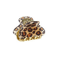 Girls brown leopard print mini claw clip