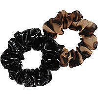 Girls brown animal print scrunchie 2 pack