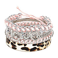 Girls pink love bangle pack