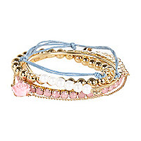 Girls blue heart friendship bracelet pack