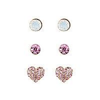 Girls pink heart earring 3 pack