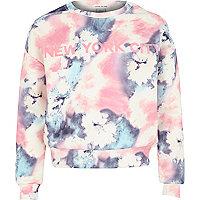 Girls pastel pink marble NY print sweatshirt