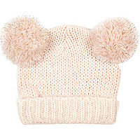 Girls pink double pom beanie hat