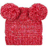 Girls red double pom beanie hat