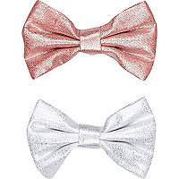 Girls pink metallic bow clip 2 pack