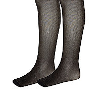 Girls black and gold lurex tights