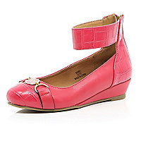Girls coral ballerina wedge shoe