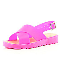 Girls pink jelly sling back sandal