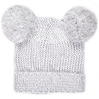 Girls grey double pom beanie hat