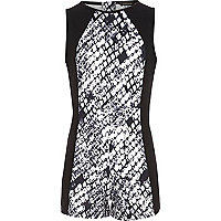 Girls black snakeskin print playsuit
