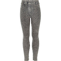 Girls grey acid wash denim look leggings
