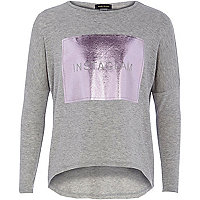 Girls grey instaglam t-shirt