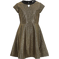 Girls gold skater dress