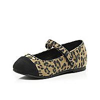 Mini girls brown leopard print shoes