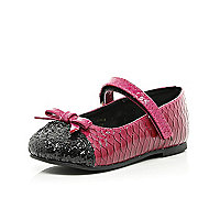 Mini girls pink snake skin ballerina shoes