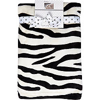 Mini white zebra print blanket