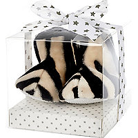 Mini white zebra print booties